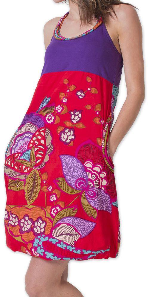 Robe Bicolore courte d'été Ethnique et Colorée Balon Violette 276825