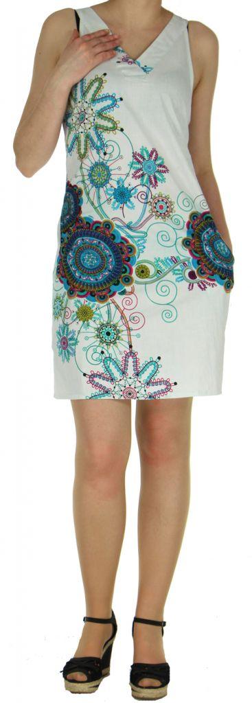 Robe blanche imprimée tendance en coton d'Inde Desik 270496