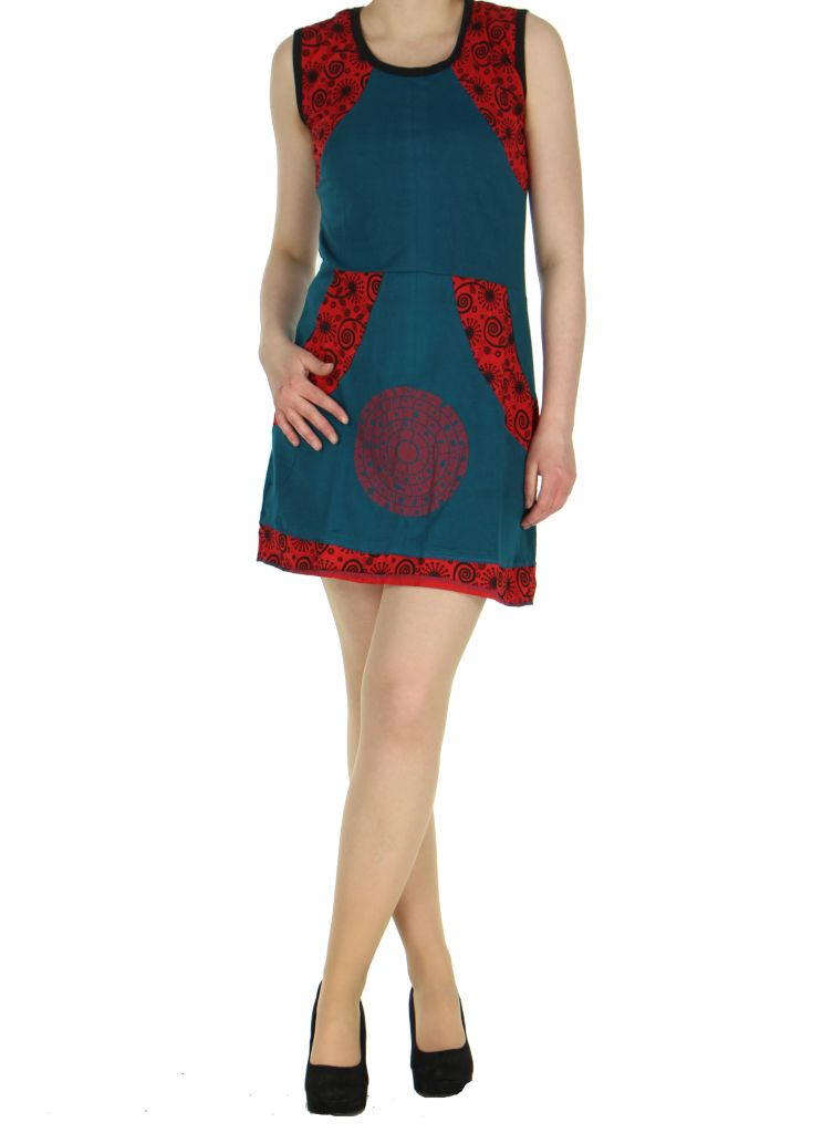 Robe bleue en coton Samia 268385