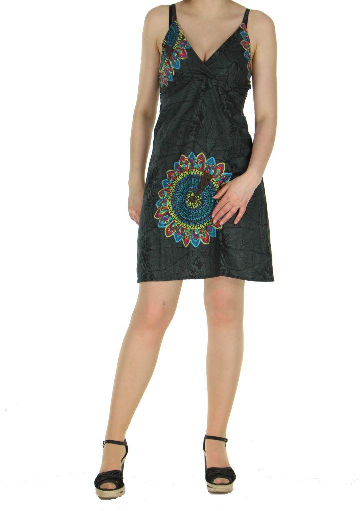 Robe colorée dos-nu noire Alexa 268247