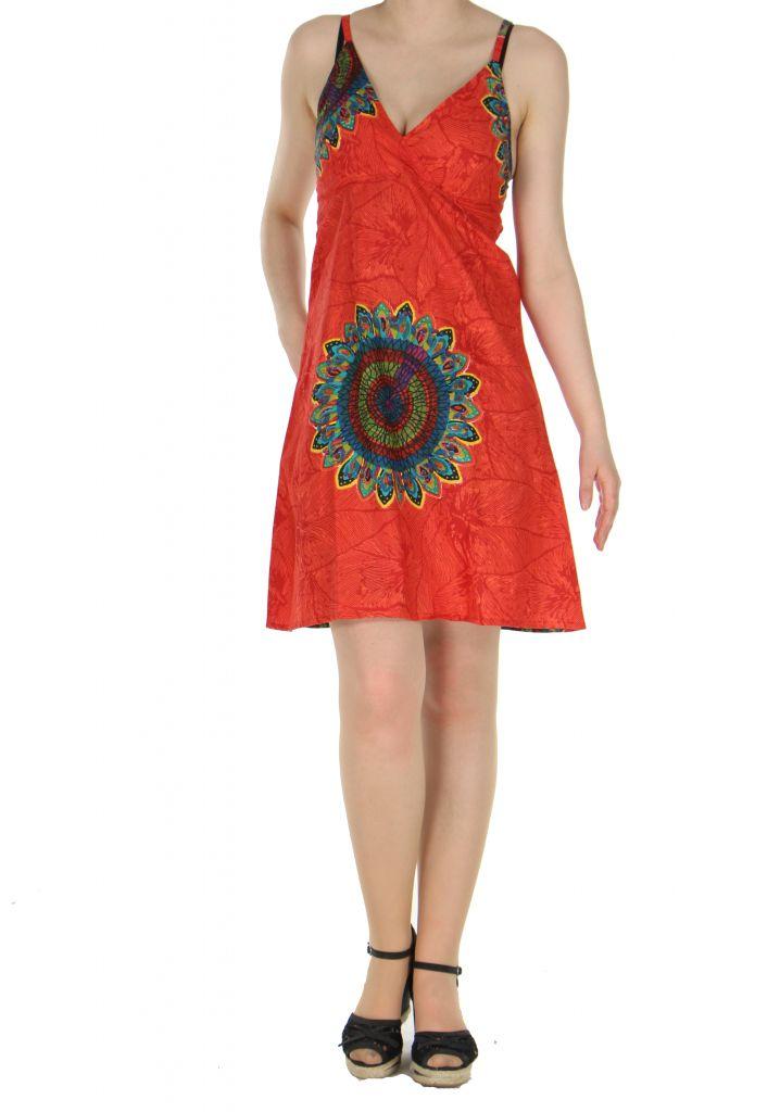 Robe colorée dos-nu rouge Alexa 268249
