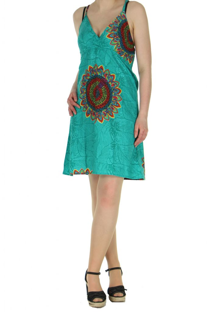 Robe colorée dos-nu turquoise Alexa 268243