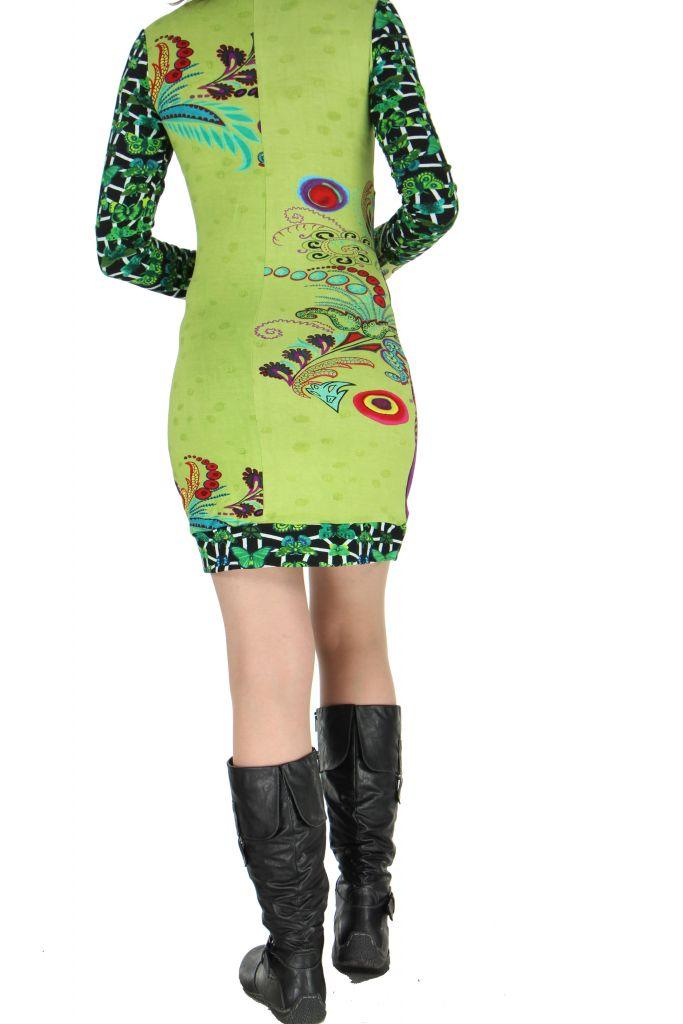 Robe colorée moulante verte Nayssa 267364