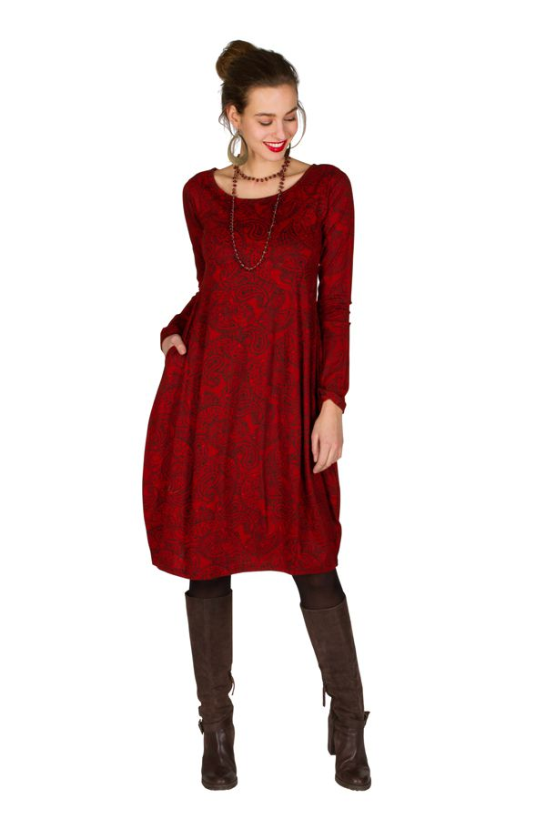 Robe colorée originale à manches longues chic Rouge Frenchies 300265