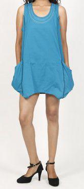 Robe courte / Tunique pour femme d'été sans manches - Bleue- Pamela 272020