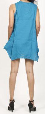 Robe courte / Tunique pour femme d'été sans manches - Bleue- Pamela 272021