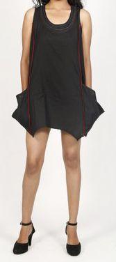 Robe courte / Tunique pour femme d'été sans manches - Noire- Pamela 272022