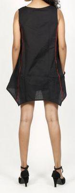 Robe courte / Tunique pour femme d'été sans manches - Noire- Pamela 272023
