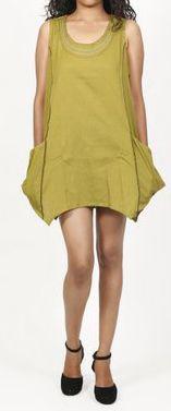 Robe courte / Tunique pour femme d'été sans manches - Verte- Pamela 272024