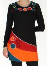 Robe courte à Broderies Originale et Colorée Vickie Noire 276449