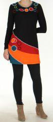 Robe courte à Broderies Originale et Colorée Vickie Noire 276450