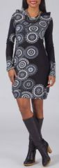 Robe courte � capuche Ethnique et Imprim�e Laila 274934