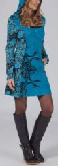 Robe courte à capuche Ethnique et Originale Laurel Bleue 274945