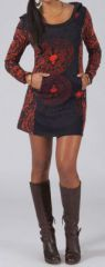 Robe courte à capuche Ethnique et Originale Laurel Noire 274943