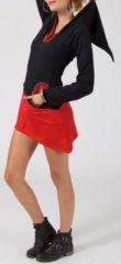 Robe courte à capuche lutin Noire et rouge originale Shepy 274195