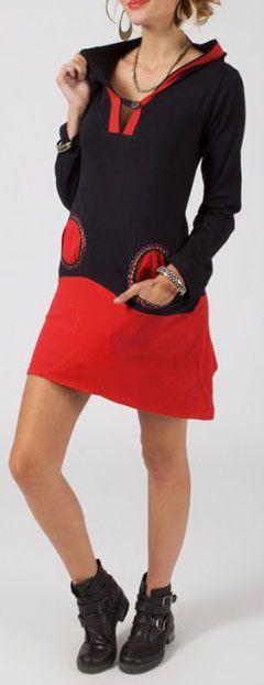 Robe courte à capuche lutin Noire et rouge originale Shepy