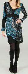 Robe courte � col en V ethnique et color�e Maeliette 273955