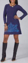Robe courte � col rond avec des manches longues bleue originale Victoria