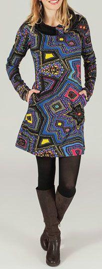 Robe courte à col rond Ethnique et Originale Adénora 274156