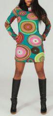 Robe courte à col rond Ethnique et Originale Aéline 274162