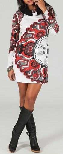 Robe courte à col rond Ethnique et Originale Aélya 274164