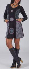 Robe courte � col rond ethnique et originale grise Amel