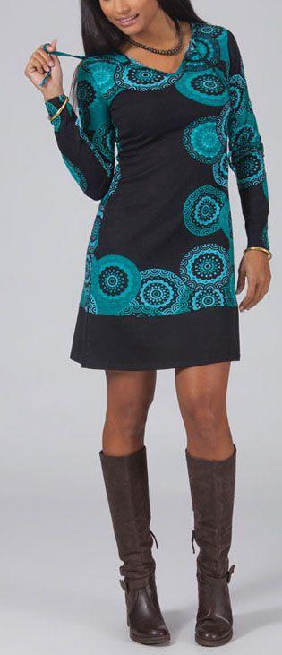 Robe courte à col rond Ethnique et Originale Lalia 274937