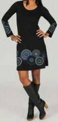 Robe courte � col rond ethnique et originale Noire Fanette 273852
