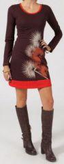 Robe courte � col rond Ethnique et Originale Pissenlit Marron 274872
