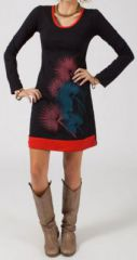 Robe courte � col rond Ethnique et Originale Pissenlit Noire et Rouge 274870