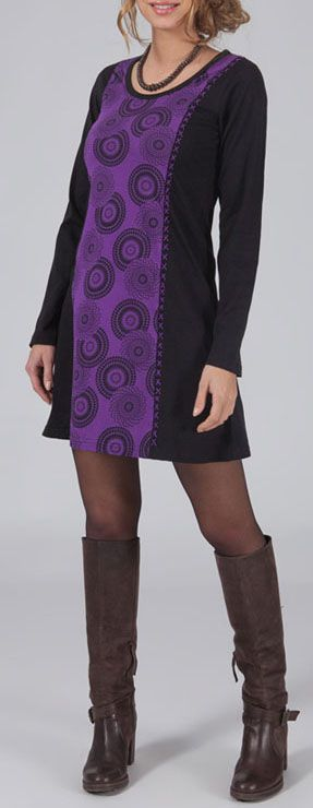 Robe courte à col rond ethnique et originale violette Sonia
