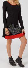Robe courte à col rond Ethnique et Originale Vitalic Noire et rouge