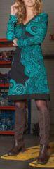 Robe courte à col V Chic et Ethnique Laetitia Verte 274929