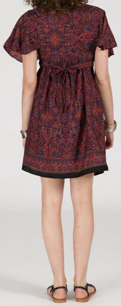 Robe courte à col V Noir originale et ethnique  Tisha 272858
