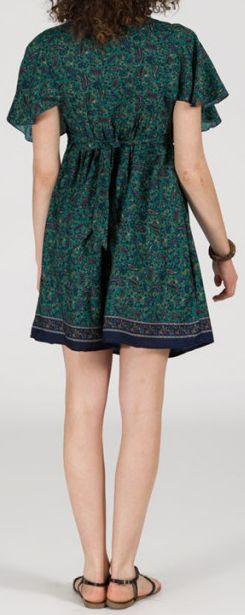Robe courte à col V originale et ethnique Bleue/Verte Tisha 272848
