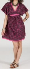 Robe courte � col V originale et ethnique Rose/Violet Tisha 272853