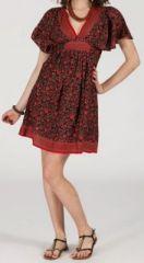 Robe courte � col V originale et ethnique Rouge/Bordeaux Tisha 272855