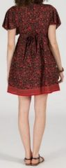 Robe courte à col V originale et ethnique Rouge/Bordeaux Tisha 272856
