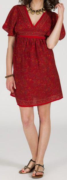 Robe courte à col V originale et ethnique Rouge Tisha 272851