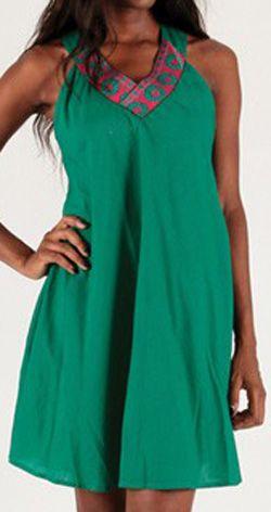 Robe courte à col V sans manches Originale et Colorée Abeline 276724