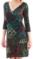 Robe courte à effet portefeuille Glamour et Ethnique Noire 282156