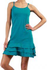 Robe courte � fines bretelles Color�e et Originale Innoa Turquoise 277082