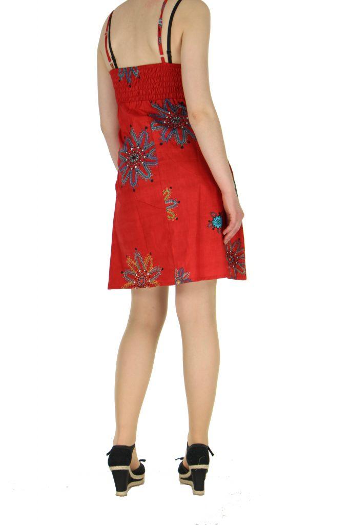 Robe courte à fines bretelles rouge jodie 267655