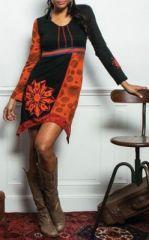Robe courte à manches longues asymétrique et colorée Noire/Orange Aloise 273743
