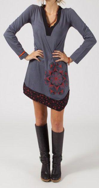 Robe courte à manches longues Chic et Ethnique Ilana Grise 274828