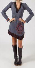 Robe courte � manches longues Chic et Ethnique Ilana Grise 274828