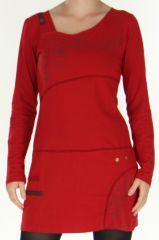 Robe courte à manches longues Colorée à col Original Assa Rouge 277946
