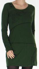 Robe courte à manches longues Colorée et à col Original Assa Kaki 277952