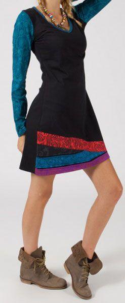 Robe courte à manches longues Colorée et Ethnique Maisha 275043
