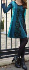 Robe courte � manches longues Color�e et Originale Bleue Tanis 274095